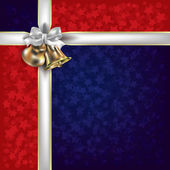 Christmas red blue greeting with white gift ribbons — Stock vektor