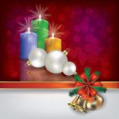 Vánoční červené svíčky a dárkové stuhy s pozdravem — Stock vektor