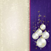 Christmas beige background with pearl balls — Stock Vector