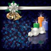 Christmas greeting met kaarsen en witte geschenk linten — Stockvector