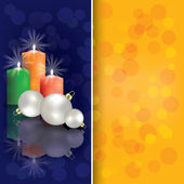 Christmas greeting with candles — Stock Vector