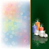 Felicitación de navidad con velas — Vector de stock
