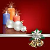 приветствие рождество со свечами и белый подарочные ленты — Cтоковый вектор