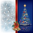 Christmas blue background with handbells — Stock Vector