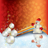 Christmas greeting with snowman — Stock Vector