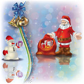 Christmas greeting with Santa snowman and gifts — Stock Vector