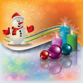 Jul hälsning med snögubbe och ljus — Stockvektor