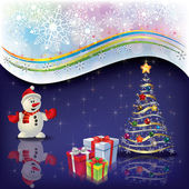 Christmas greeting with snowman and tree — Stock Vector
