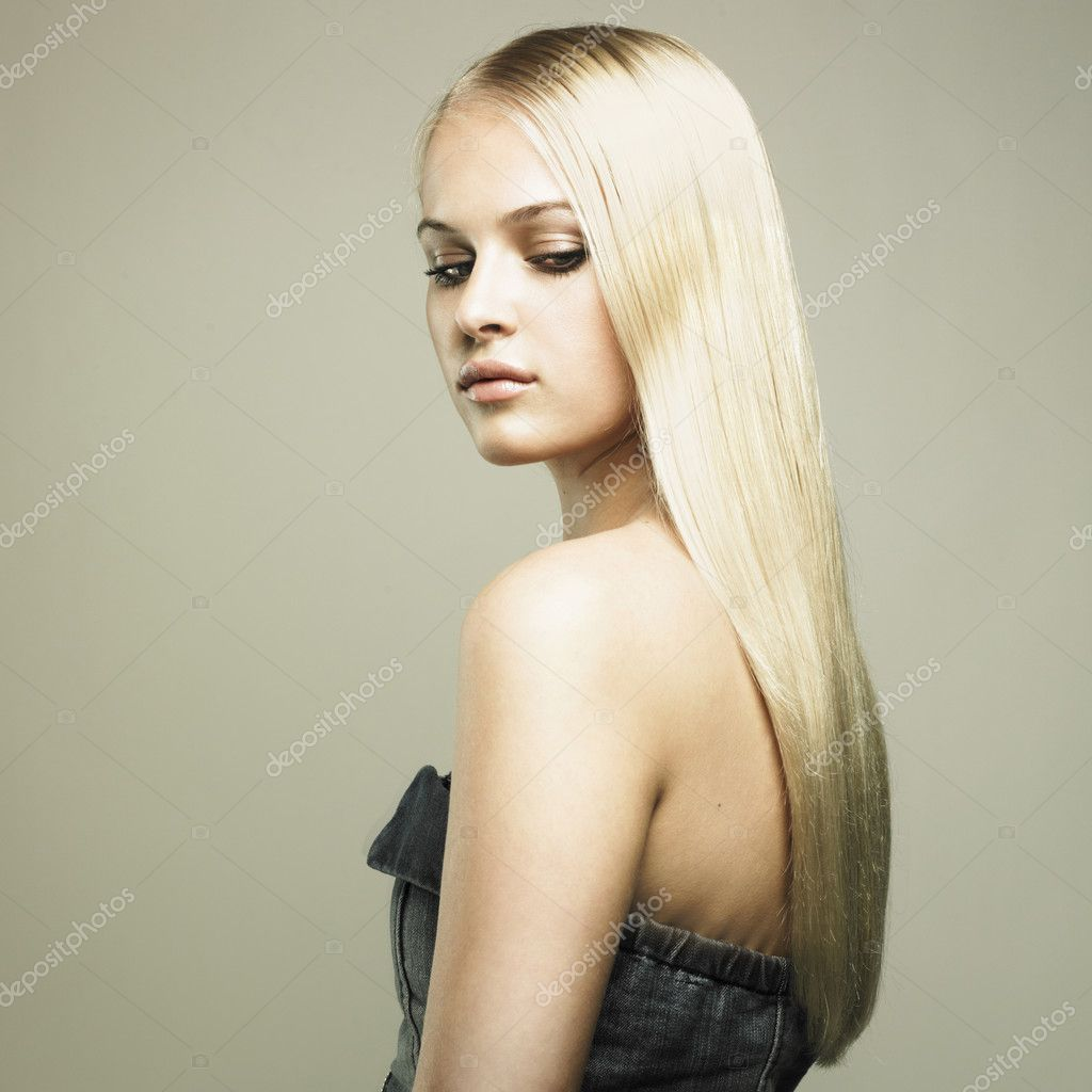 Photo of beautiful woman with magnificent hair  Stock Photo #5901041