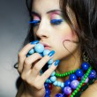 Beautiful girl with bright beads - Foto de Stock  