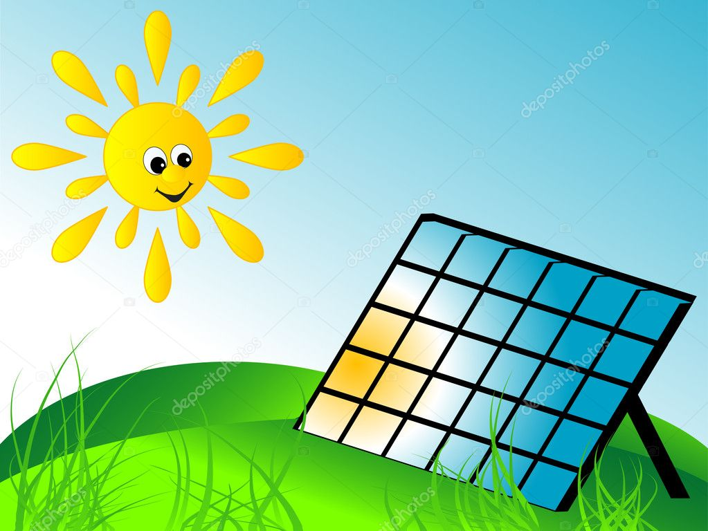 Solar panel and the sun — Stock Vector #5401946