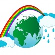 Earth and rainbow — Stock Vector