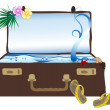 Sea in suitcase - Stock Vector