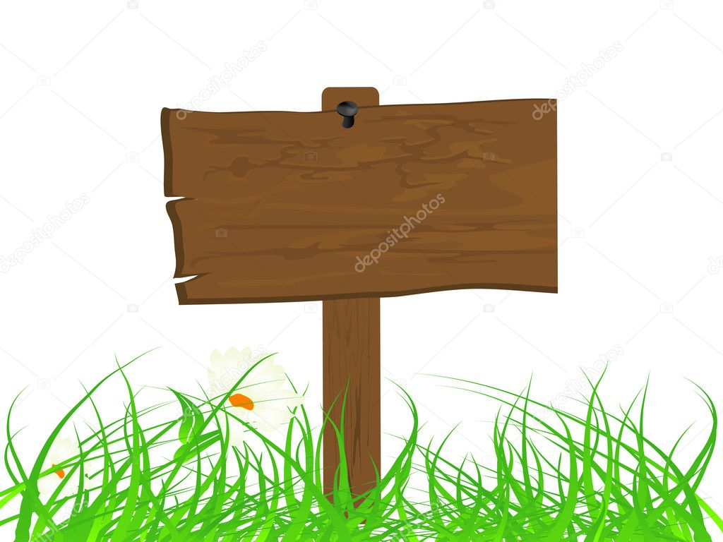 Wooden signboard in the grass  Stock Vector #5975386