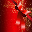 Red gift bow with floral curl. Vector — Imagen vectorial
