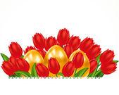 Tulipas escarlate e ovos de páscoa. cartão de páscoa. — Vetor de Stock