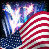 USA flag background. Fireworks in the night starry sky. — Stock Vector