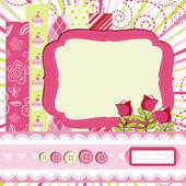 Baby girl Scrap background. — Stock Vector