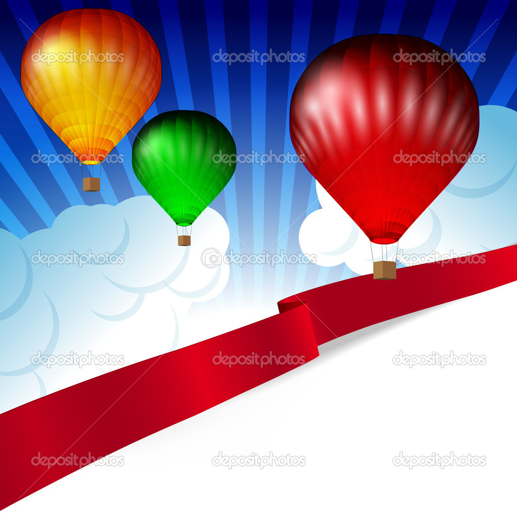 Background white clouds on blue sky and colorful hot air balloons.  Stock Vector #6281939