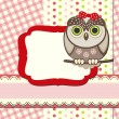 Stock Vector: Baby owl scrap background.