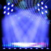 Blue spotlight background with light show effects. — Stockvector