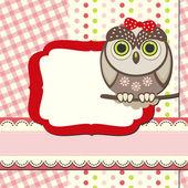 Baby owl scrap background. — Stock Vector