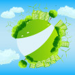 Green globe with trees, sities and wind turbines. - Stock Vector
