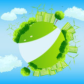 Green globe with trees, sities and wind turbines. — Stock Vector
