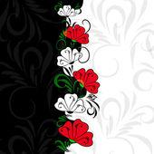Floral contrast vintage background — Stock Vector