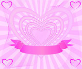Fondo de corazón rosa — Vector de stock