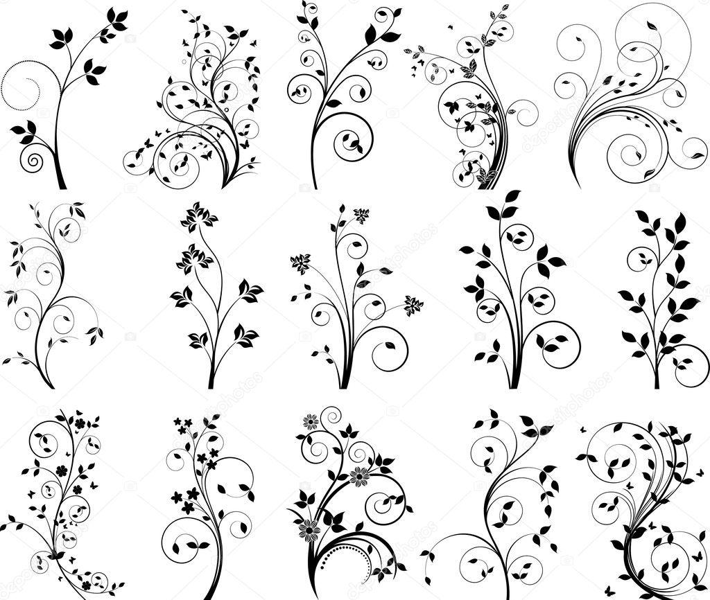 Floral design vector set — Stock Vector #5690862