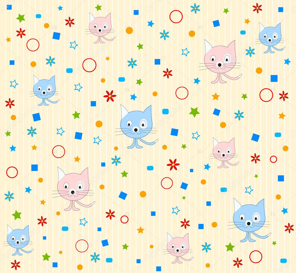 Cat pattern background vector — Stock Vector © vanias #5787960