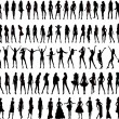 Stock Vector: Sexy woman silhouettes - vector