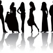 Fashion  silhouettes vector — Stockvectorbeeld