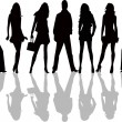 Fashion  silhouettes - vector - Vettoriali Stock 