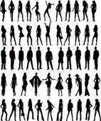 Sexy woman silhouettes - vector — Stock Vector