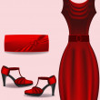 Red dress, bag and shues vector — Stock Vector