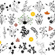 Set of floral elements vector — Stock Vector