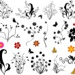 Stock Vector: Set of floral elements vector