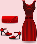 Red dress, bag and shoes vector — Stock Vector