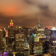 Night over New York city skyline — Stock Photo