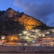 City of Berat in Albania at night - Stock Photo