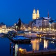 Zurich at night river view — Stock Photo