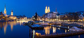 Zurich at night river view — Foto Stock