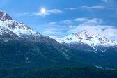 Alpine mountains in a monlit night — Stock Photo