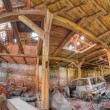 Interior Panorama of barn wreck — Stock Photo