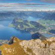 Long mountain panorama of Lake Lucerne, Switzerland — Stock Photo