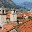 Roofs of Kotor with towers of St Tryphon's Cathedral, Montenegro — Stock fotografie