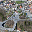 Little mountain town with large street infrastructure — Foto de Stock