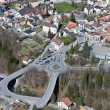 Little mountain town with large street infrastructure — Stok fotoğraf